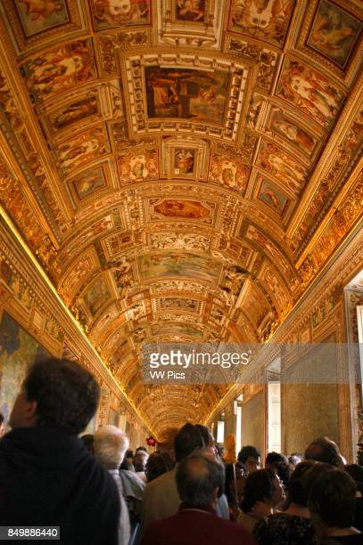 Gallery in the Vatican Museum in Vatican City a city-state that is surrounded by Rome Italy.