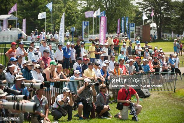 Gallery on the 18th hole watching Nasa Hataoka of Japan during the final round of the 2018 KPMG Women's PGA Championship at Kemper Lakes Golf Club on...