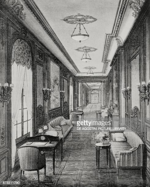 Gallery on the Italian steamer Duilio drawing from L'Illustrazione Italiana Year XLIII No 13 March 26 1916