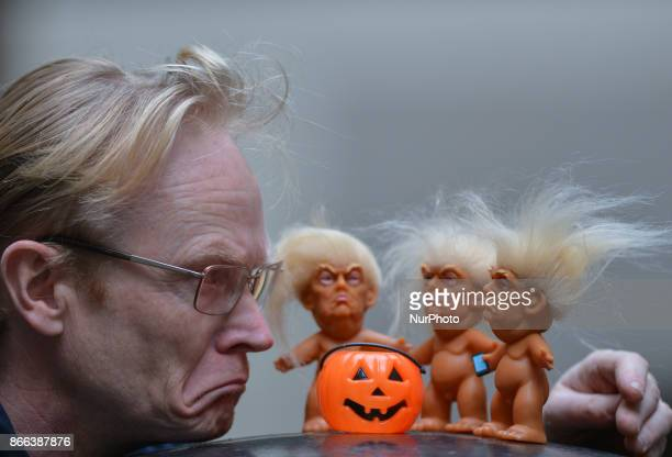Gallery owner Frank O'Dea with three vinyl dolls which feature President Donald Trump made by a former sculptor for Disney Chuck Williams Donald...
