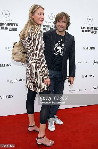 Gallery owner Kirsten Roschlaub and photographer Hubertus von Hohenlohe attend the Rudolf Dassler by Puma fashion show during the MercedesBenz...