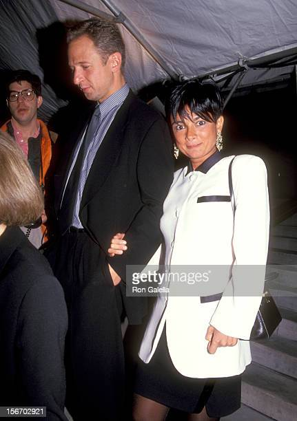 Gallery owner Mary Boone and guest attend the 100th Anniversary Celebration of Vogue Magazine on April 2 1992 at New York Public Library in New York...