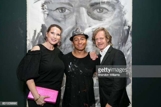 Gallery owner Megan J Phillips artist Robert Vargas and actor William H Macy attend Robert Vargas' solo art show at Sur le Mur gallery in Pacific...
