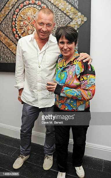Gallery owner Sean Pertwee and artist Nancy Fouts attend a private view of 'Artifact A Solo Exhibition By Nancy Fouts' at Pertwee Anderson Gold...