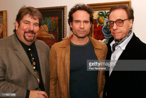Gallery owner Trigg Ison actor Jason Patric and director Peter Bogdanovich attend the exhibition of 'Borislav Bogdanovich Impressions' on November 1...