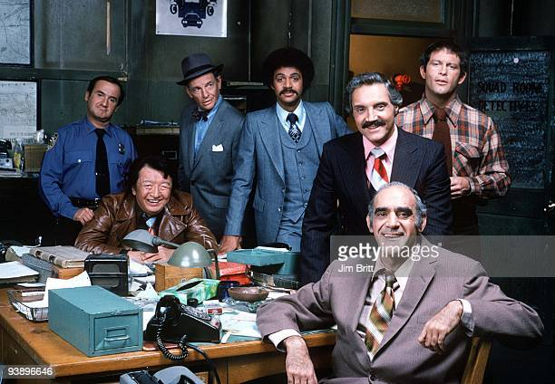 MILLER gallery Season Four 1/24/78 Pictured from left Ron Carey Jack Soo James Gregory Ron Glass Hal Linden Abe Vigoda Maxwell Gail