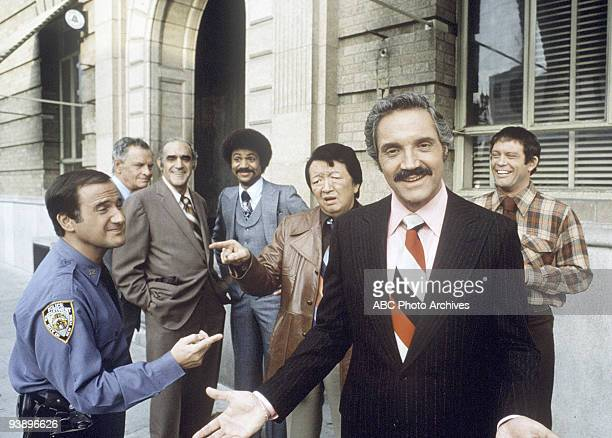 MILLER gallery Season Four 1/24/78 Pictured from left Ron Carey James Gregory Abe Vigoda Ron Glass Jack Soo Hal Linden and Maxwell Gail