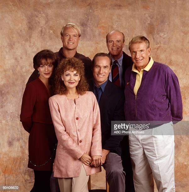 COACH gallery Season Six 9/14/93 Back row Bill Fagerbakke Ken Kimmins Clare Carey Shelley Fabares Craig T Nelson Jerry Van Dyke
