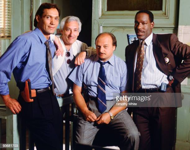 BLUE gallery Season Two 9/11/94 Jimmy Smits joined executive producer Steven Bochco and costars Dennis Franz and James McDaniel on the set of the...
