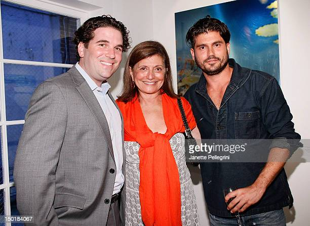 Gallery Valentine owner Ryan Ross Artist Andrew Levitas with mother Laila Levitas attend Andrew Levitas Metalwork Photography Sculptures opening at...