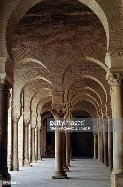Gallery which precedes the prayer hall in the Mosque of 'Uqba or Great Mosque of Kairouan Kairouan Governorate Tunisia 9th century