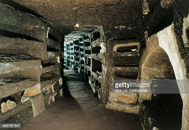 Gallery with niches in the Catacombs of Priscilla 2nd5th century Rome Lazio Italy