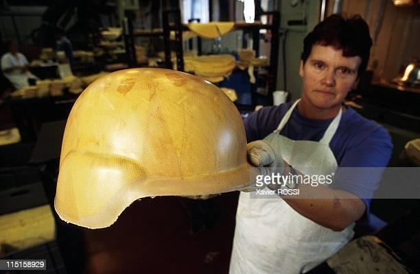 'TGS Gallet' manufacturer of helmets in France in October 1999 Manufacture of kevlar military helmets