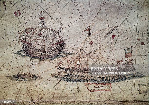 Galley and Portuguese caravel detail from the Nautical chart of the Mediterranean by Grazioso Benincasa 15th century