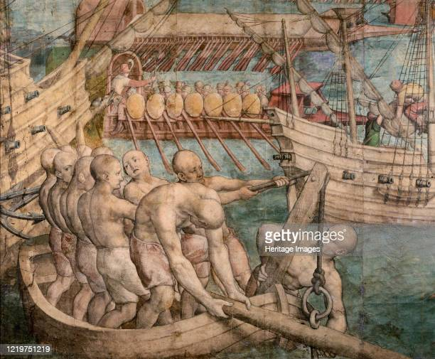 Galley slaves. Detail from: Emperor Charles V Captures Tunis , circa 1548. Found in the Collection of Art History Museum, Vienne. Artist Vermeyen,...
