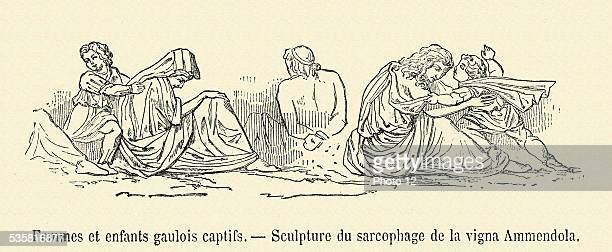 Gallic women and children captives Sculpture of the sarcophagus of the vigna Ammendola 19th Century engraving