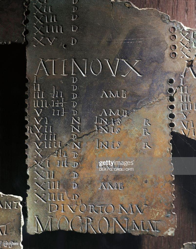 "Gallic lunar calendar, each month bears the sign ""Atinoux"" : News Photo"