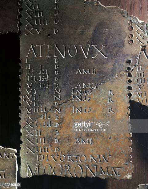 GallicRoman Art Late 1stearly 2nd century Gallic lunar calendar Each month bears the sign Antenoux