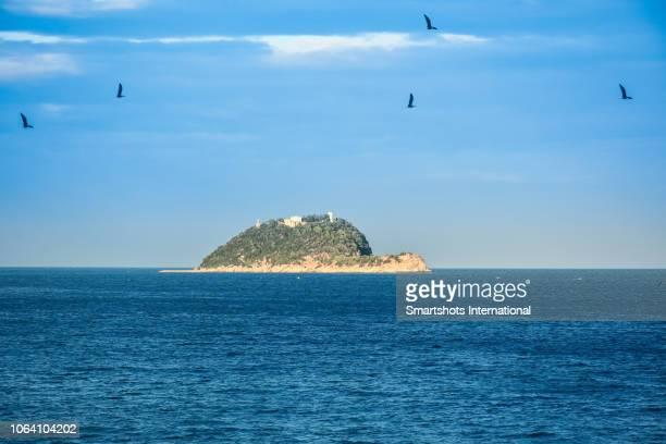 gallinara island, a turtle-shape island off the coast of liguria, italy - nature reserve foto e immagini stock