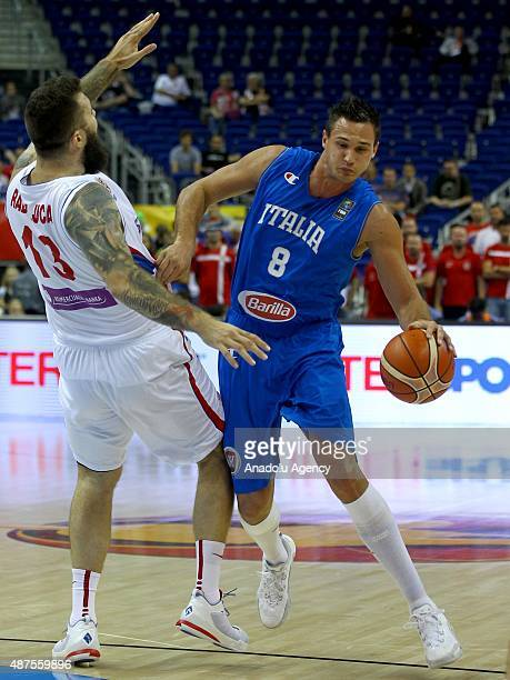 Gallinari of Italy is in action during the FIBA EuroBasket 2015 Group B basketball match between Serbia and Italy at Mercedes Benz Arena in Berlin...