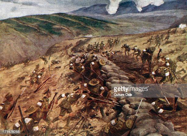 'Gallipoli' illustration of soldiers fighting in the Turkish city of Gallipoli during World War I 1915