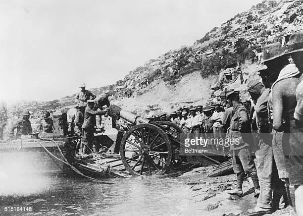Landing Heavy Guns During Dardanelles Operations Photo taken at Gaba Tepe the scene of the landing of the Australian troops upon the Gallipoli...