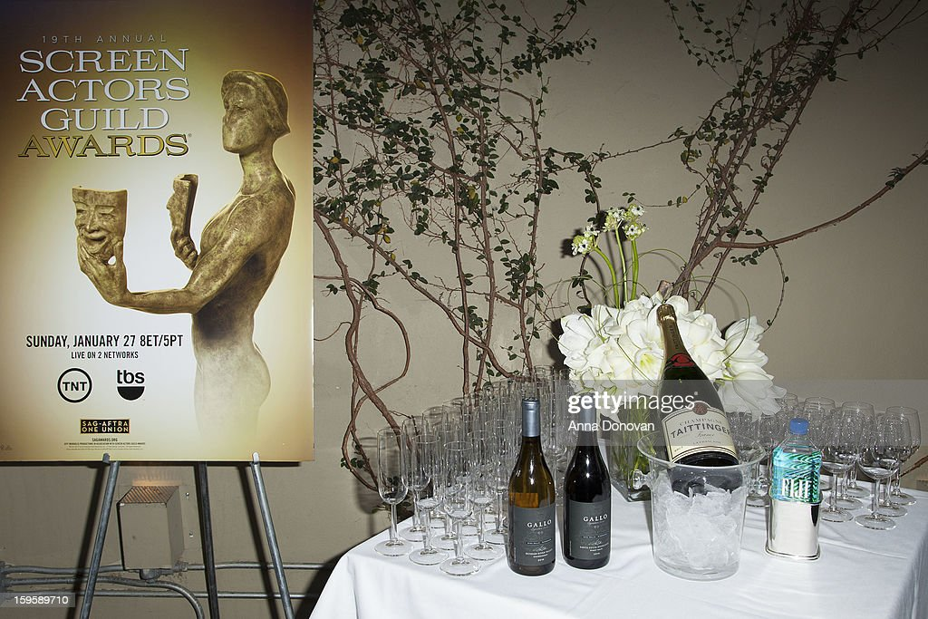 Gallo wines, Champagne Tattinger and Fiji water displayed during food and wine tasting event at Lucques Restaurant on January 16, 2013 in Los Angeles, California. The 19th Annual Screen Actor Guild Awards will be held at the Shrine Auditorium in Los Angeles on January 27.