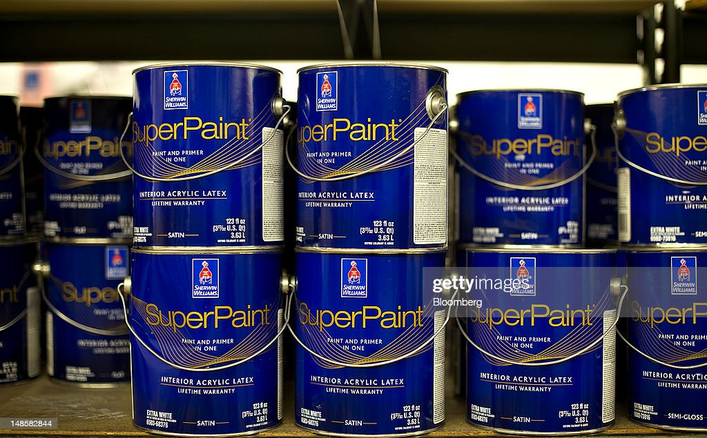 Gallon Cans Of Sherwin Williams SuperPaint, A Combination Paint And Primer,  Sit On