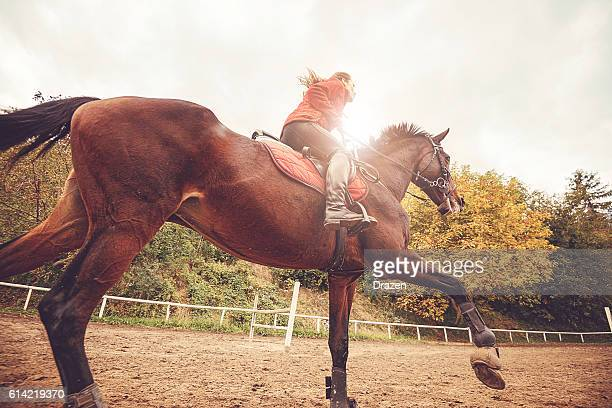 Galloping horse with female jockey