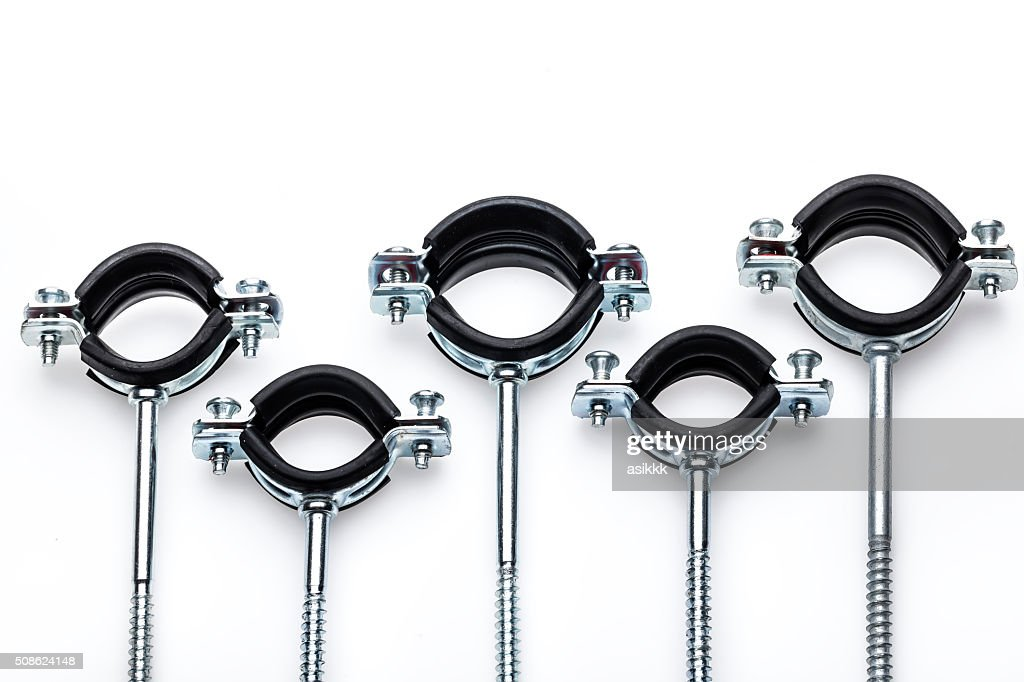 Galvanized metal and Rubber Clamps : Stock Photo