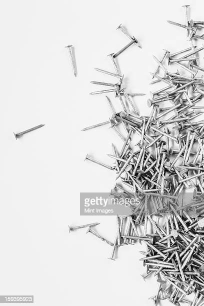 Galvanized nails, spread out on a white background.