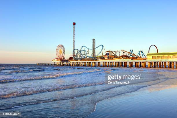 galveston island historic pleasure pier - texas stock pictures, royalty-free photos & images