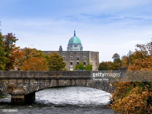 galway cathedral and river corrib - galway stock pictures, royalty-free photos & images