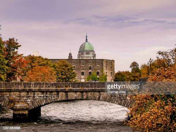 galway cathedral and river corrib - county galway stock pictures, royalty-free photos & images