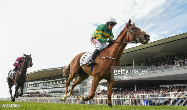Galway Ireland 1 August 2017 Housesofparliament with Barry Geraghty up cross the line to win the Colm Quinn BMW Novice Hurdle ahead of Morgan with...