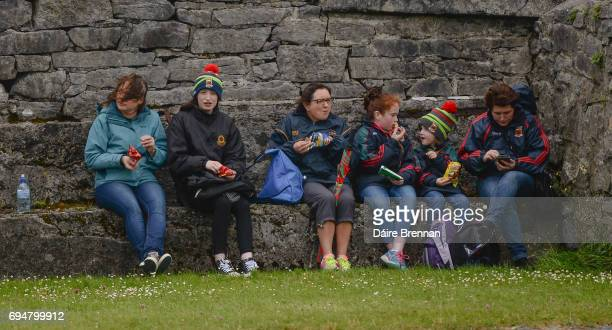 Galway Ireland 11 June 2017 Mayo supporters left to right Agnes O'Hoare Emma O'Hoare Frances Reid Laoise McGowan aged 9 Méabh McGowan aged 5 and...