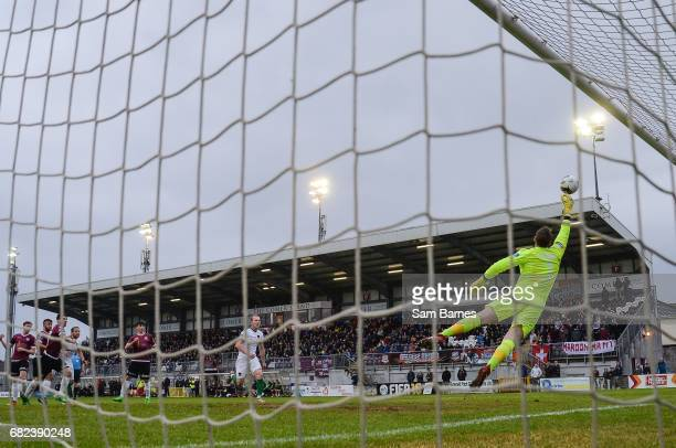Galway , IReland - 12 May 2017; Conor Winn of Galway United saves a free kick from Kevin O'Connor of Cork City during the SSE Airtricity League...