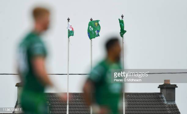 Galway Ireland 13 April 2019 A general view of the Welsh IRFU and Connacht flags flying in the wind during the Guinness PRO14 Round 20 match between...