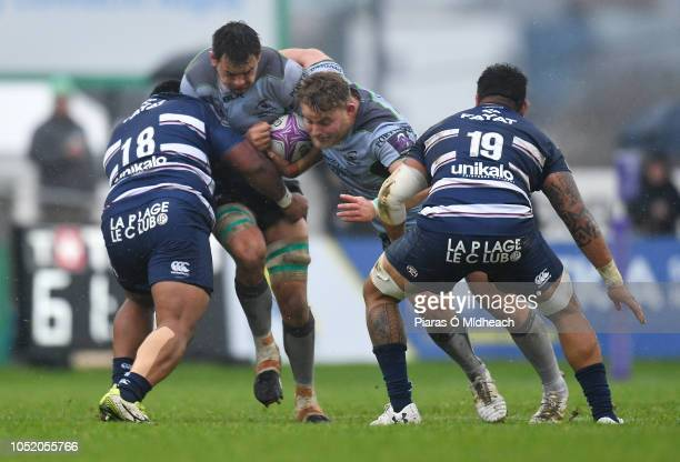 Galway , Ireland - 13 October 2018; Quinn Roux of Connacht, supported by team mate Finlay Bealham in action against Viliamu Afatia, left, and Afa...