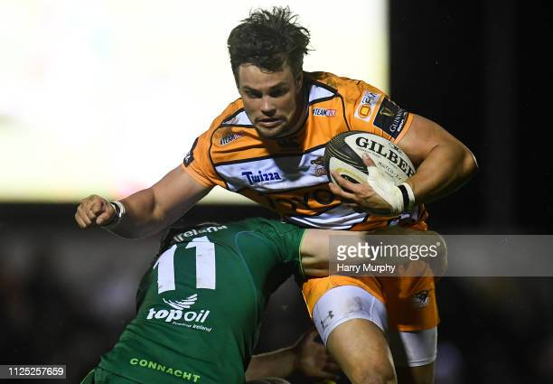 Galway Ireland 16 February 2019 Nico Lee of Toyota Cheetahs is tackled by Stephen Fitzgerald of Connacht during the Guinness PRO14 Round 15 match...