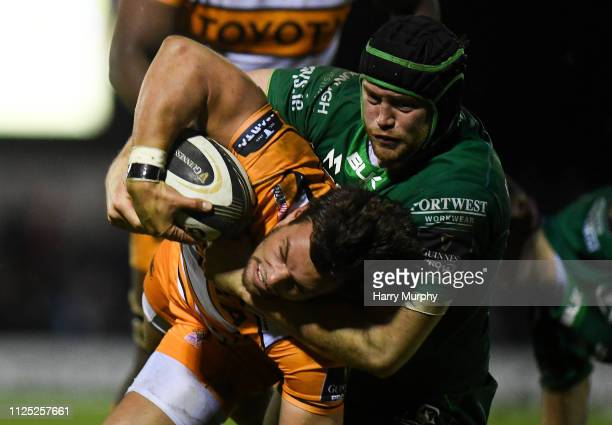 Galway Ireland 16 February 2019 Nico Lee of Toyota Cheetahs is tackled by Eoin McKeon of Connacht during the Guinness PRO14 Round 15 match between...