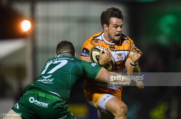 Galway Ireland 16 February 2019 Nico Lee of Toyota Cheetahs is tackled by Petert McCabe of Connacht during the Guinness PRO14 Round 15 match between...