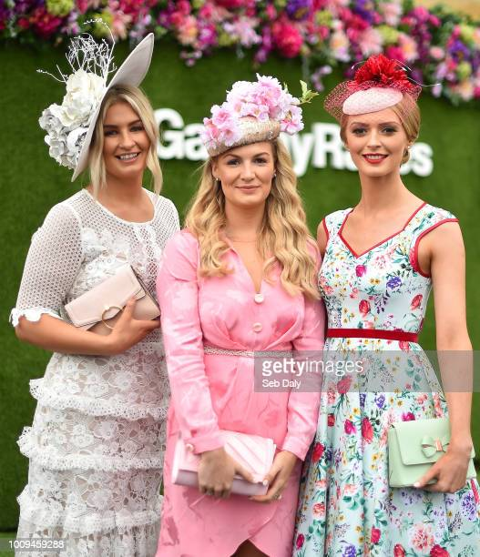 Galway Ireland 2 August 2018 Racegoers from left Fiona Conroy from Dundalk Co Louth Kate Tieryney from Ennis Co Clare and Maria Coughlan from...