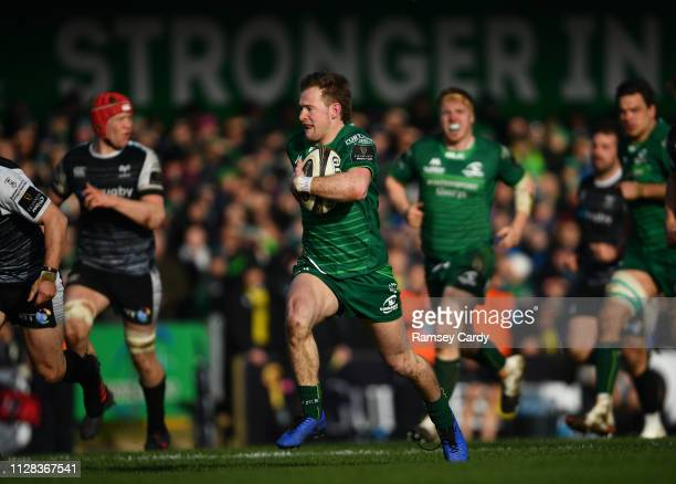 Galway Ireland 2 March 2019 Kieran Marmion of Connacht on his way to scoring his side's fifth try during the Guinness PRO14 Round 17 match between...