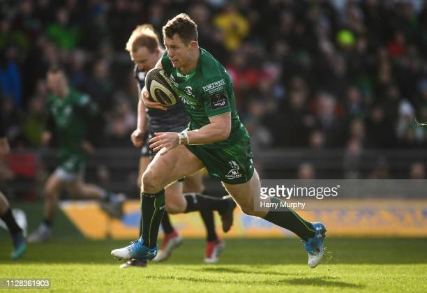 Galway Ireland 2 March 2019 Matt Healy of Connacht on his way to scoring his side's second try during the Guinness PRO14 Round 17 match between...