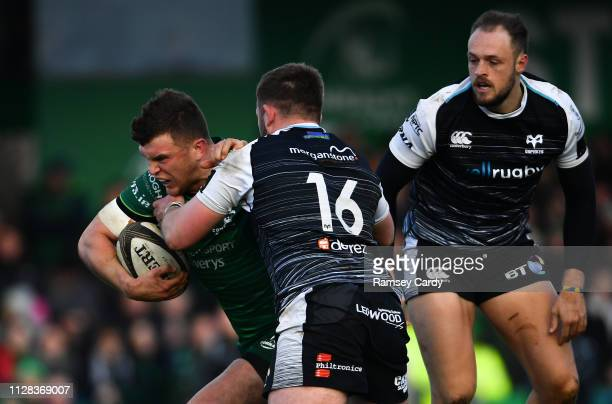 Galway Ireland 2 March 2019 Peter Robb of Connacht is tackled by Scott Otten of Ospreys during the Guinness PRO14 Round 17 match between Connacht and...