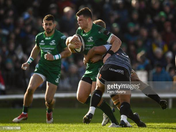 Galway Ireland 2 March 2019 Tom Farrell of Connacht is tackled by Tom Botha of Ospreys during the Guinness PRO14 Round 17 match between Connacht and...
