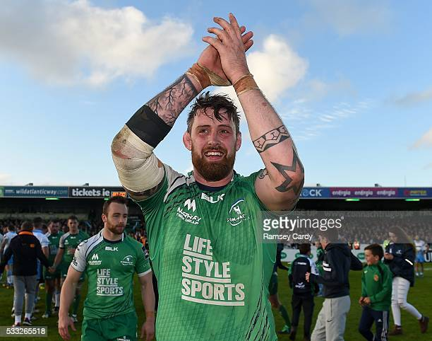 Galway , Ireland - 21 May 2016; Aly Muldowney of Connacht celebrates after his side's victory in the Guinness PRO12 Play-off match between Connacht...