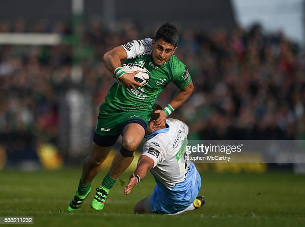 Galway , Ireland - 21 May 2016; Tiernan O'Halloran of Connacht escapes the tackle of Fraser Brown of Glasgow Warriors during the Guinness PRO12...