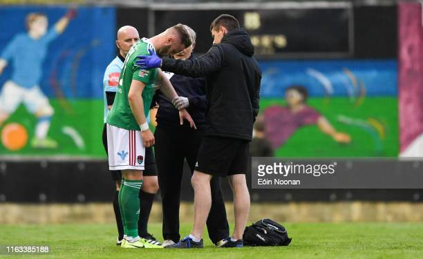 Galway Ireland 23 August 2019 Kevin O'Connor of Cork City receives medical attention after sustaining an injury during the Extraie FAI Cup Second...